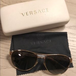 Versace polarized sunglasses with case and cloth